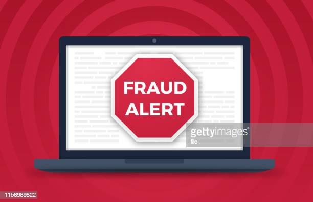 fraud alert computer crime - corporate theft stock illustrations
