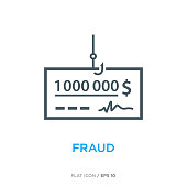 Fraud line flat icon ver 1