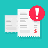 Fraud payment rejected or pay declined caution notification vector illustration flat, bill or invoice receipt with exclamation alert or transaction verification isolated, bad money transfer