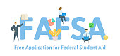 FAFSA, Free Application for Federal Student Aid. Concept with keywords, letters and icons. Flat vector illustration. Isolated on white background.