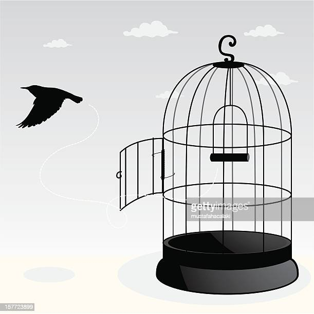 free bird - cage stock illustrations, clip art, cartoons, & icons
