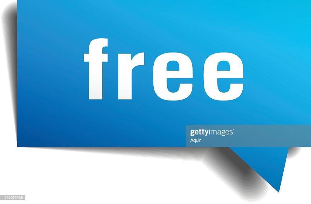 free blue 3d realistic paper speech bubble