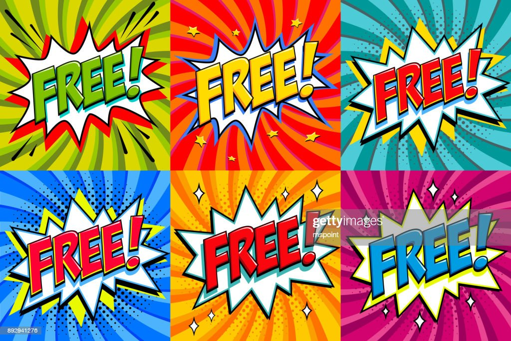 Free - Comic book style stickers. Free banners in pop art comic style. Color summer banners in pop art style Ideal for web. Decorative backgrounds with bomb explosive