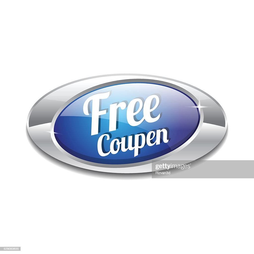 Free Coupen Blue Vector Icon Button