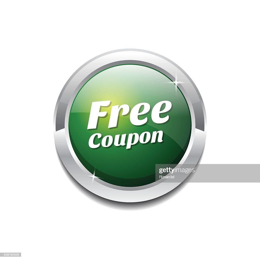Free Coupen Green Vector Icon Button