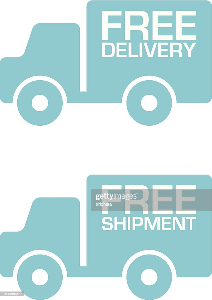 Free Delivery and Shipment Truck Labels : Vectorkunst