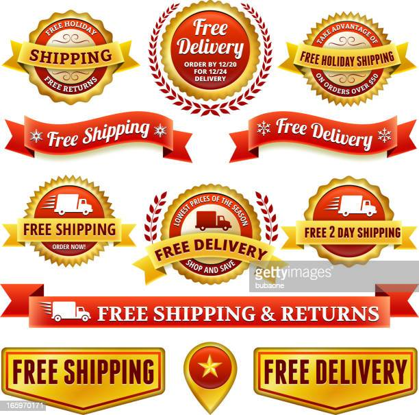 free delivery badge set - rail freight stock illustrations, clip art, cartoons, & icons