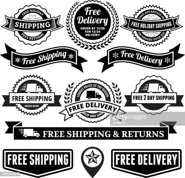 Entrega gratuita preto e branco conjunto de emblema