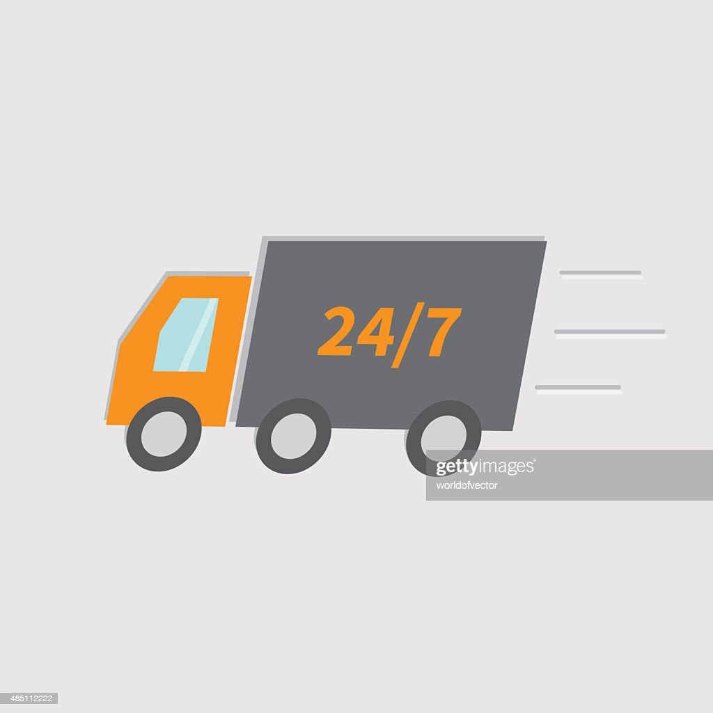 Free delivery car service. Truck with speed line Isolated. Flat