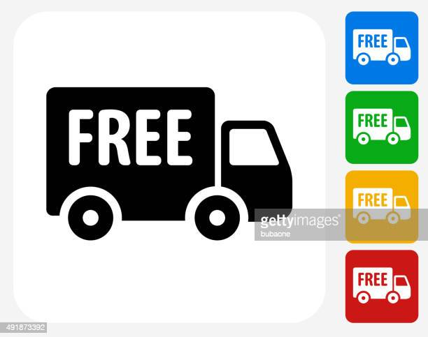free delivery icon flat graphic design - freedom stock illustrations, clip art, cartoons, & icons