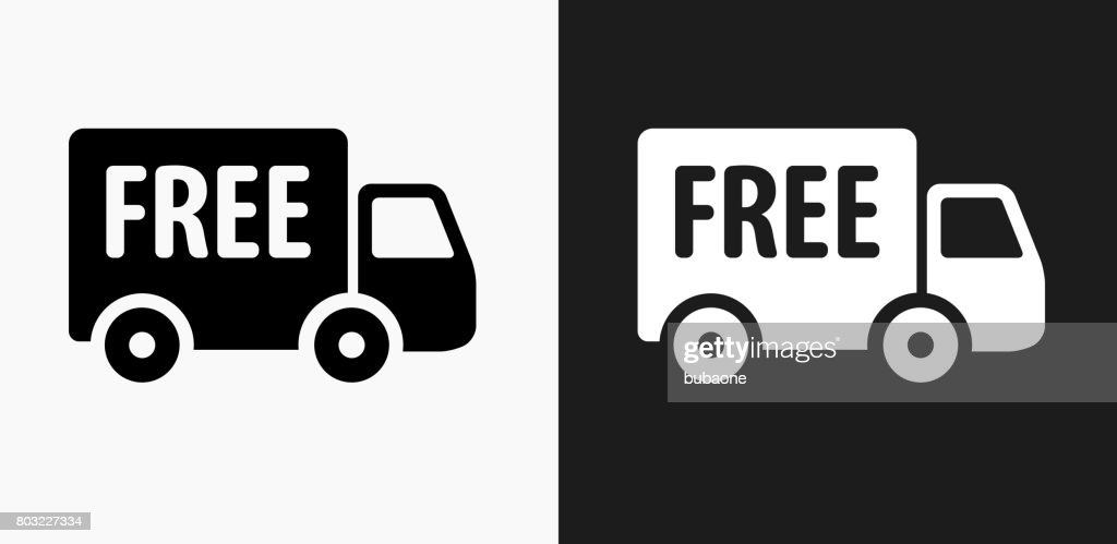 Free Delivery Icon on Black and White Vector Backgrounds : stock illustration