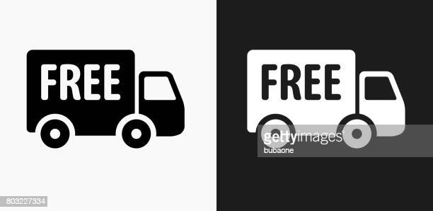 Free Delivery Icon on Black and White Vector Backgrounds