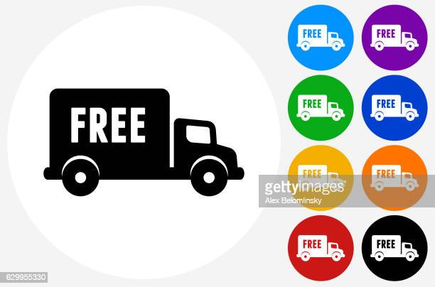 Free Delivery Icon on Flat Color Circle Buttons