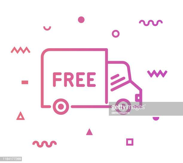 free delivery line style icon design - free of charge stock illustrations