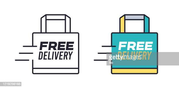 free delivery shopping bag - container stock illustrations