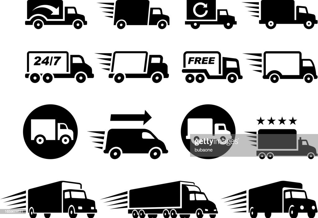 Free Delivery Trucks black and white vector icon set : stock illustration