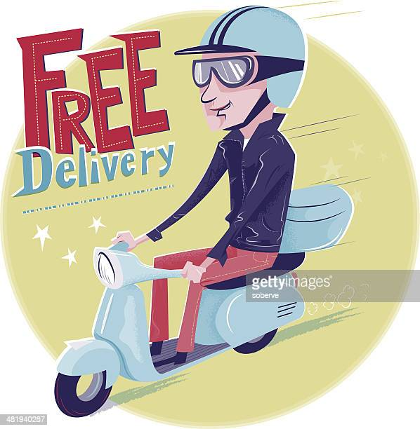 free delivery - moped stock illustrations, clip art, cartoons, & icons