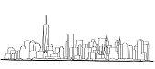 Free hand sketch of New York City skyline.