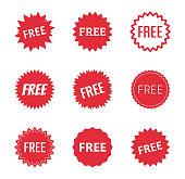 free label icons set, free tag vector illustration