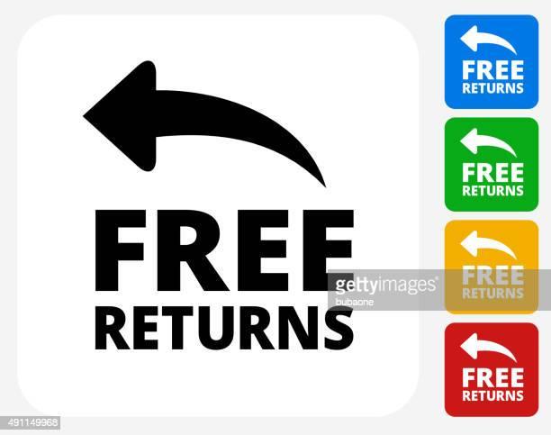 free returns icon flat graphic design - freedom stock illustrations, clip art, cartoons, & icons