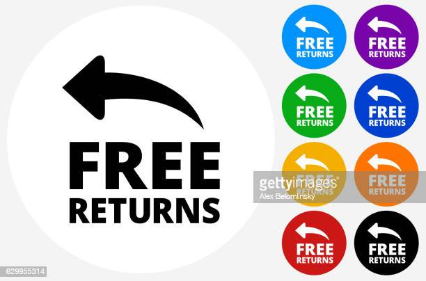 Free Returns Icon on Flat Color Circle Buttons