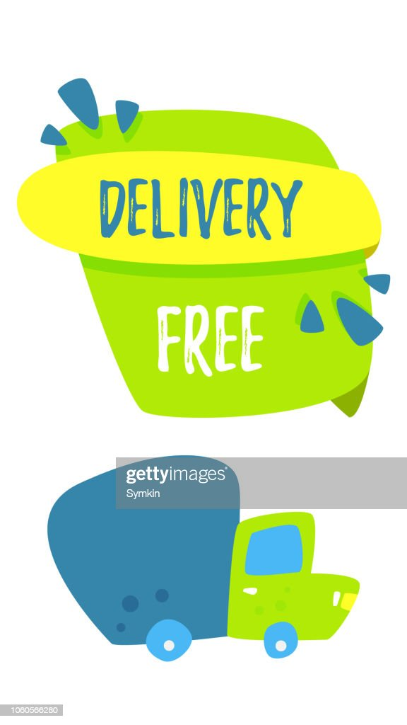 Free shipping. Delivery concept. Cartoon truck delivers goods. Online orders and fast delivery. Vector cartoon.