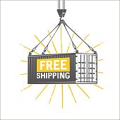 Free shipping design template. Crane lifts a container with carg