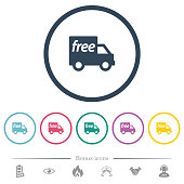 Free shipping flat color icons in round outlines