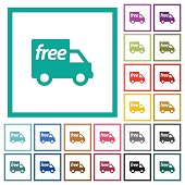 Free shipping flat color icons with quadrant frames