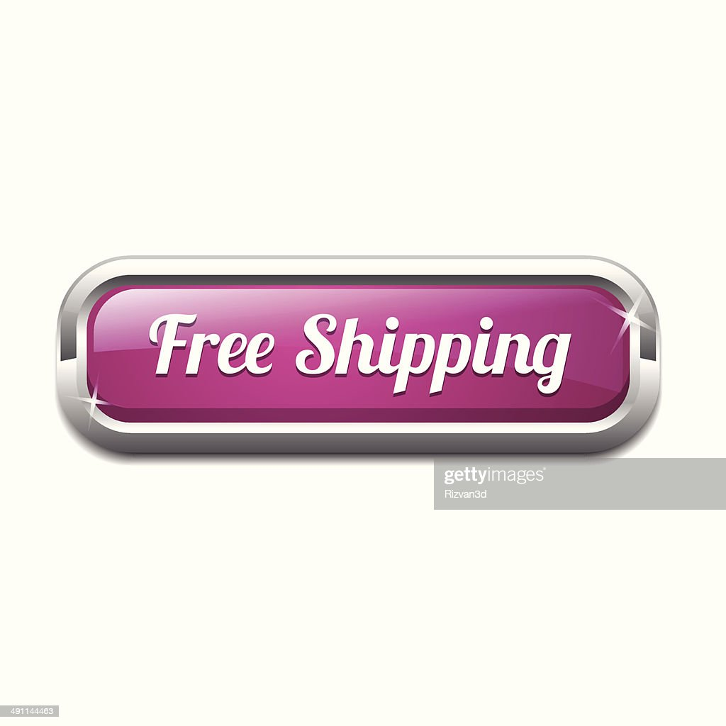 Free Shipping Glossy Shiny Rectangular Vector Button