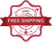 Free shipping - red grunge sticker