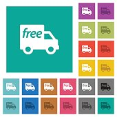 Free shipping square flat multi colored icons