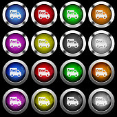 Free shipping white icons in round glossy buttons on black background
