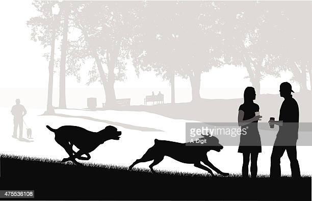 free to run - off leash dog park stock illustrations