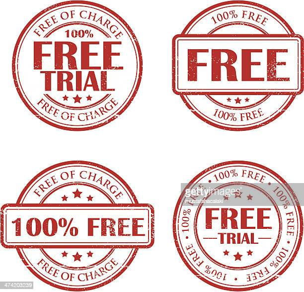 free trial grunge stamps - goodie bag stock illustrations, clip art, cartoons, & icons