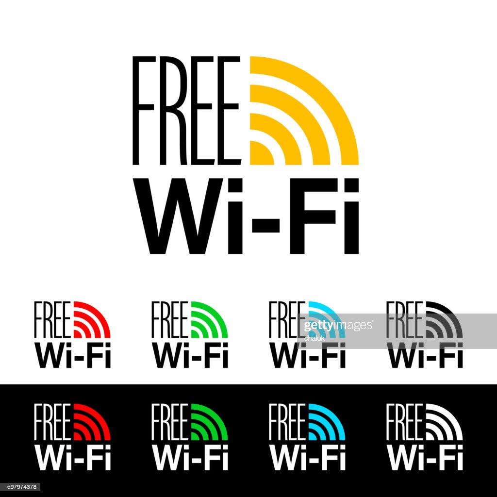 Free wifi icon. Wireless connection sticker