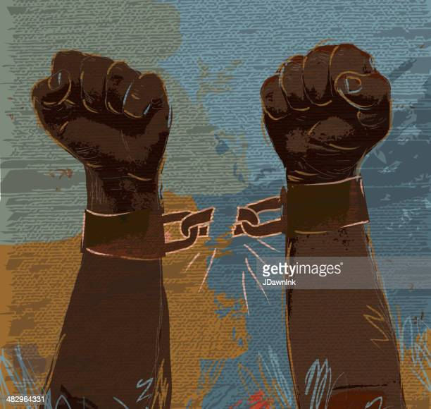 freedom: breaking chains african american hands and arms - broken stock illustrations, clip art, cartoons, & icons