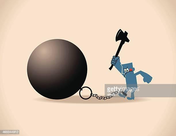 ilustraciones, imágenes clip art, dibujos animados e iconos de stock de freedom concept, hombre con él y bola de hierro y cadena - bola de hierro y cadena