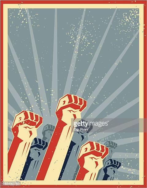 freedom fists - revolution stock illustrations