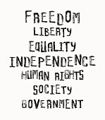 Freedom, independence, equality concept, word cloud in vintage stamp style