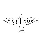 Freedom. Inspirational quote about freedom in flying bird.
