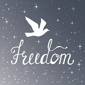 Freedom. Inspirational quote. Modern calligraphy phrase with silhouette bird. Night sky pattern.