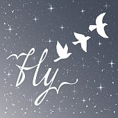 Freedom. Inspirational quote. Modern calligraphy phrase with silhouette birds. Night sky pattern.
