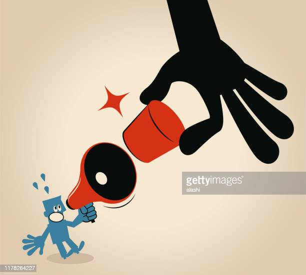 freedom of speech, big hand stopping blue man talking with megaphone by a cork - forbidden stock illustrations