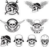 Freedom spirit. Set of skulls in biker helmets.