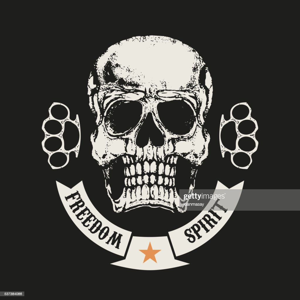 Freedom spirit. Skull in grunge style and two brass knuckle.