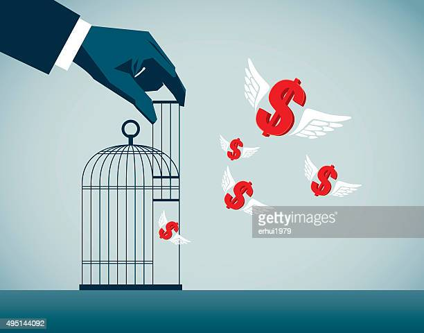 freedom - cage stock illustrations, clip art, cartoons, & icons