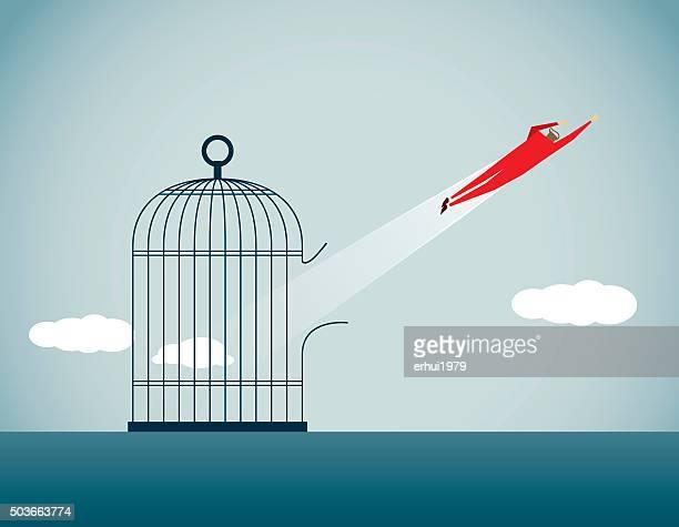 freedom - birdcage stock illustrations, clip art, cartoons, & icons