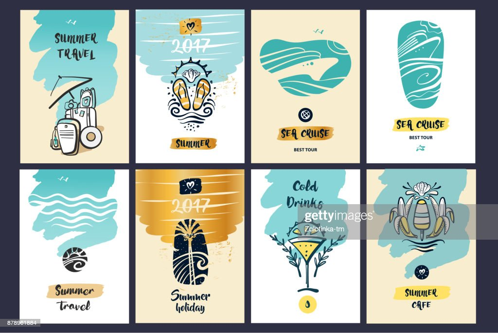 Freehand drawn vector illustration for travel agency business. Concept image journey baggage. Image for menu summer cafe, bar and sea view cruise