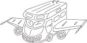 Freehand drawn vector illustration rv camper motorhome concept, mobility vacation, traveling coloring page, logo template